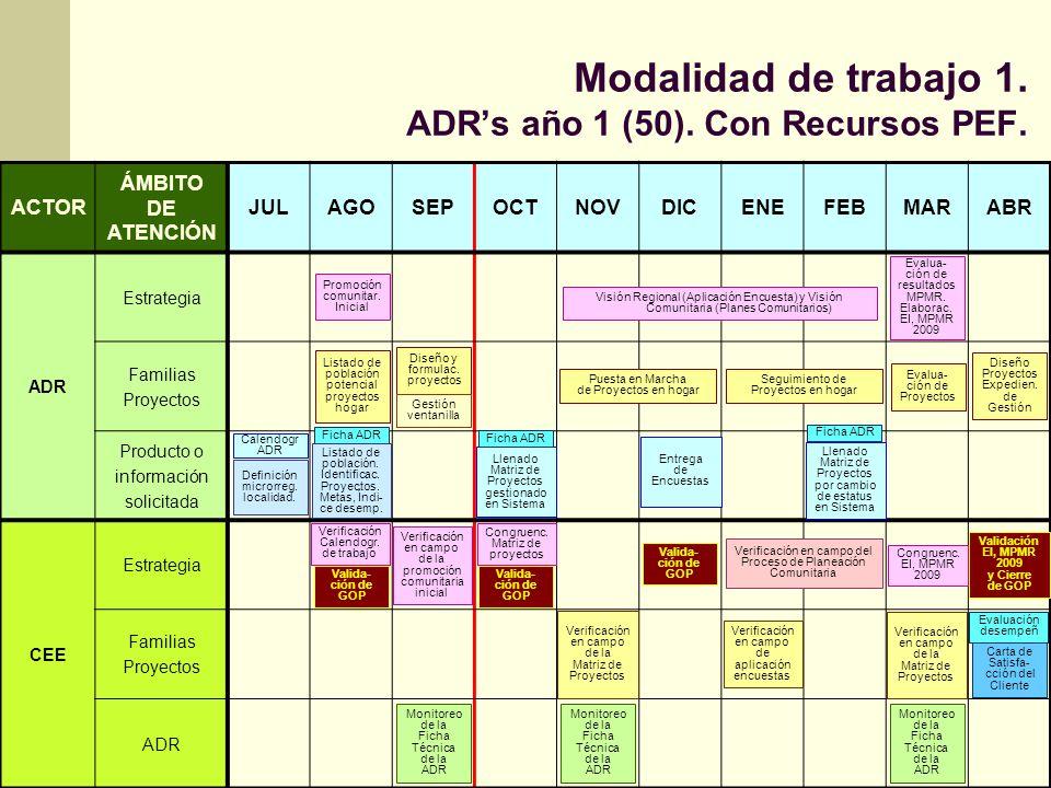 Modalidad de trabajo 1. ADRs año 1 (50). Con Recursos PEF. ACTOR ÁMBITO DE ATENCIÓN JULAGOSEPOCTNOVDICENEFEBMARABR ADR Estrategia Familias Proyectos P