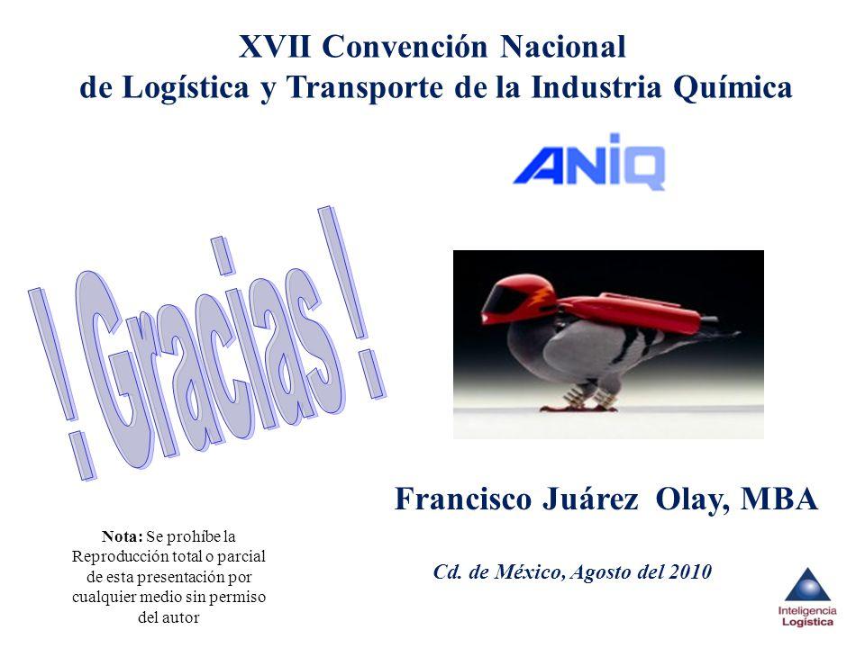 Nota: Se prohíbe la Reproducción total o parcial de esta presentación por cualquier medio sin permiso del autor Cd. de México, Agosto del 2010 XVII Co