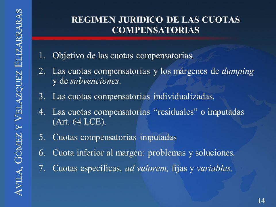 14 1.Objetivo de las cuotas compensatorias. 2.Las cuotas compensatorias y los márgenes de dumping y de subvenciones. 3.Las cuotas compensatorias indiv