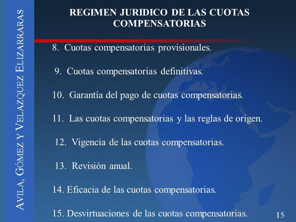 15 REGIMEN JURIDICO DE LAS CUOTAS COMPENSATORIAS 8. Cuotas compensatorias provisionales. 9. Cuotas compensatorias definitivas. 10. Garantía del pago d
