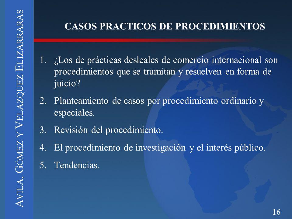 16 CASOS PRACTICOS DE PROCEDIMIENTOS 1.¿Los de prácticas desleales de comercio internacional son procedimientos que se tramitan y resuelven en forma d