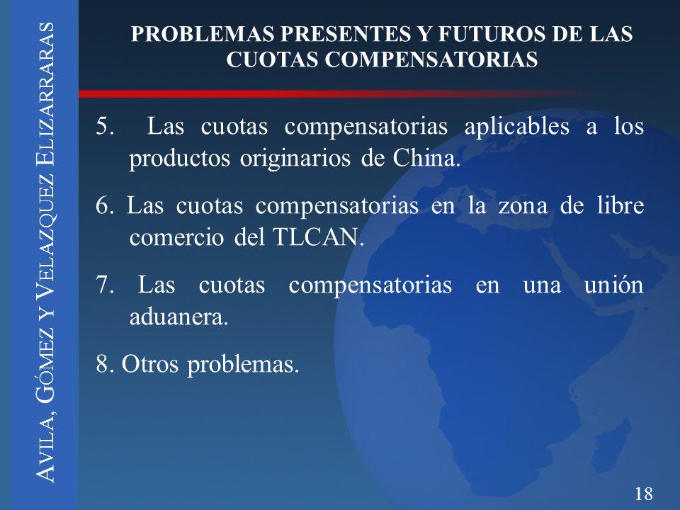 18 PROBLEMAS PRESENTES Y FUTUROS DE LAS CUOTAS COMPENSATORIAS 5. Las cuotas compensatorias aplicables a los productos originarios de China. 6. Las cuo