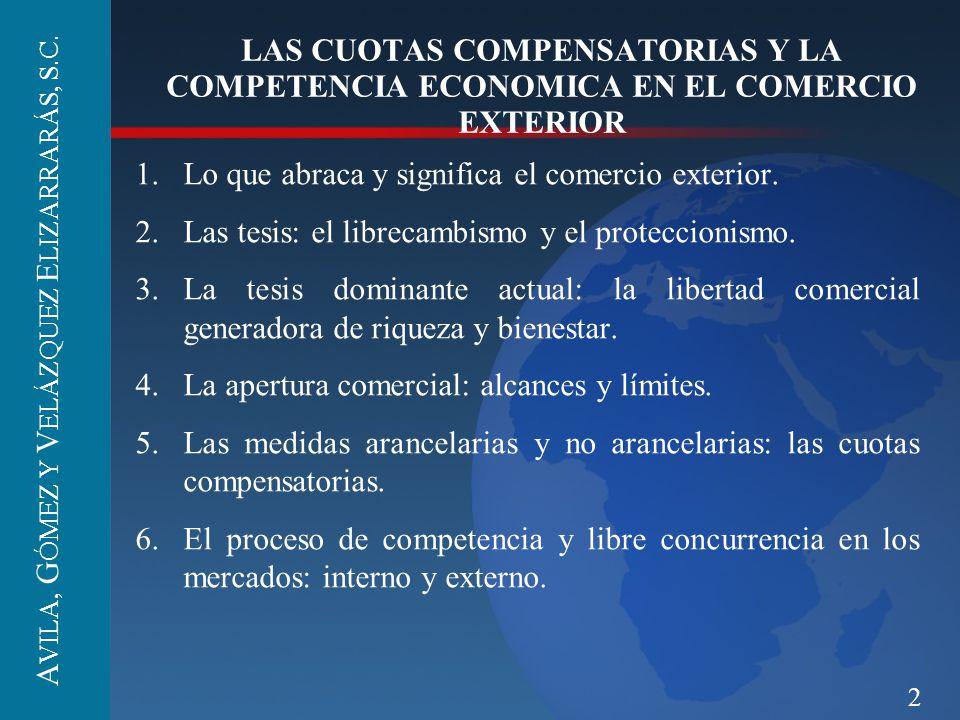 2 LAS CUOTAS COMPENSATORIAS Y LA COMPETENCIA ECONOMICA EN EL COMERCIO EXTERIOR 1.Lo que abraca y significa el comercio exterior. 2.Las tesis: el libre