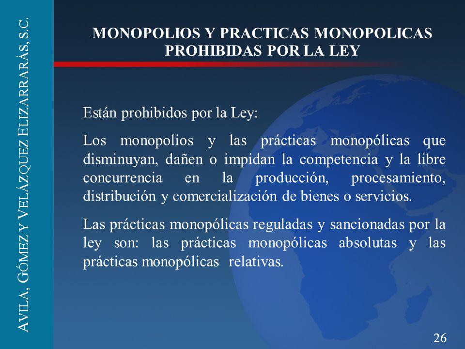 26 MONOPOLIOS Y PRACTICAS MONOPOLICAS PROHIBIDAS POR LA LEY Están prohibidos por la Ley: Los monopolios y las prácticas monopólicas que disminuyan, da