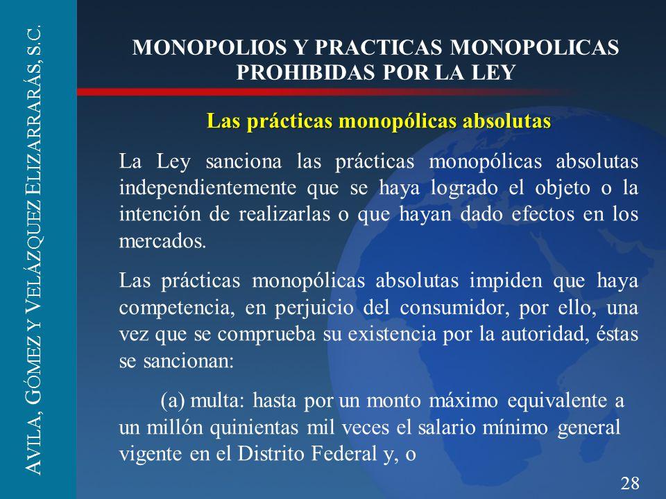 28 MONOPOLIOS Y PRACTICAS MONOPOLICAS PROHIBIDAS POR LA LEY Las prácticas monopólicas absolutas La Ley sanciona las prácticas monopólicas absolutas in