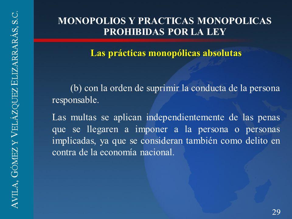29 MONOPOLIOS Y PRACTICAS MONOPOLICAS PROHIBIDAS POR LA LEY Las prácticas monopólicas absolutas (b) con la orden de suprimir la conducta de la persona