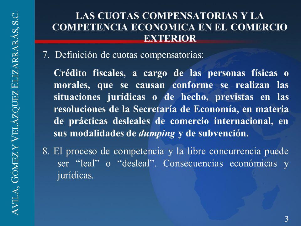 3 LAS CUOTAS COMPENSATORIAS Y LA COMPETENCIA ECONOMICA EN EL COMERCIO EXTERIOR 7. Definición de cuotas compensatorias: Crédito fiscales, a cargo de la