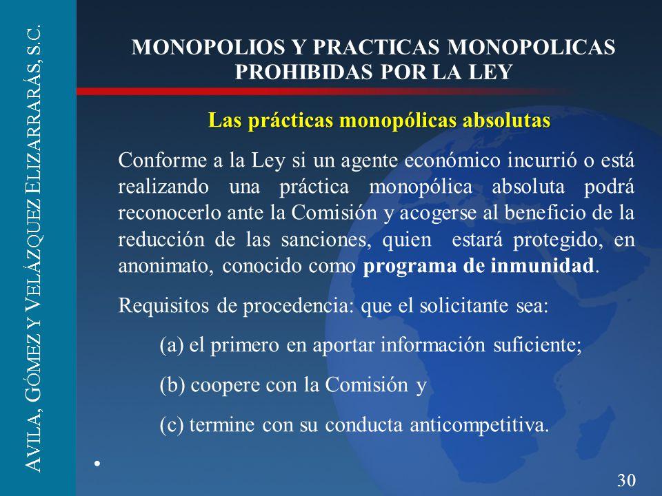 30 MONOPOLIOS Y PRACTICAS MONOPOLICAS PROHIBIDAS POR LA LEY Las prácticas monopólicas absolutas Conforme a la Ley si un agente económico incurrió o es