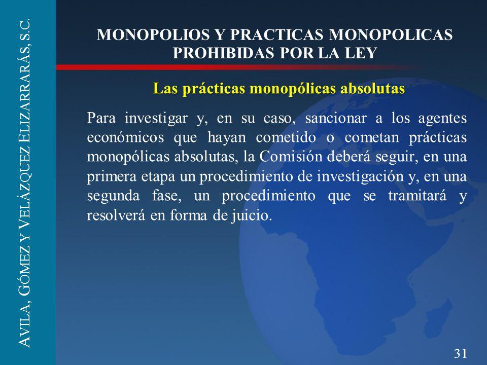 31 MONOPOLIOS Y PRACTICAS MONOPOLICAS PROHIBIDAS POR LA LEY Las prácticas monopólicas absolutas Para investigar y, en su caso, sancionar a los agentes