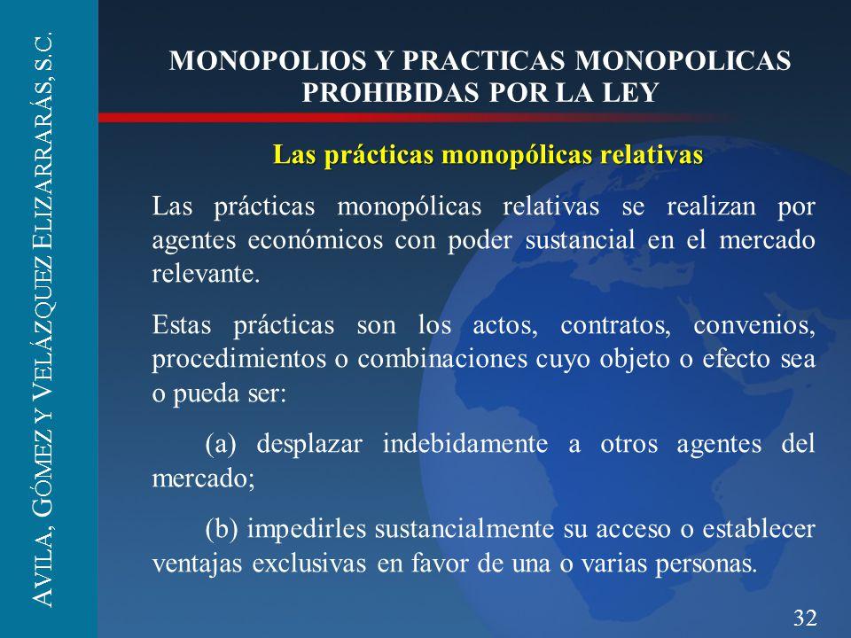32 MONOPOLIOS Y PRACTICAS MONOPOLICAS PROHIBIDAS POR LA LEY Las prácticas monopólicas relativas Las prácticas monopólicas relativas se realizan por ag