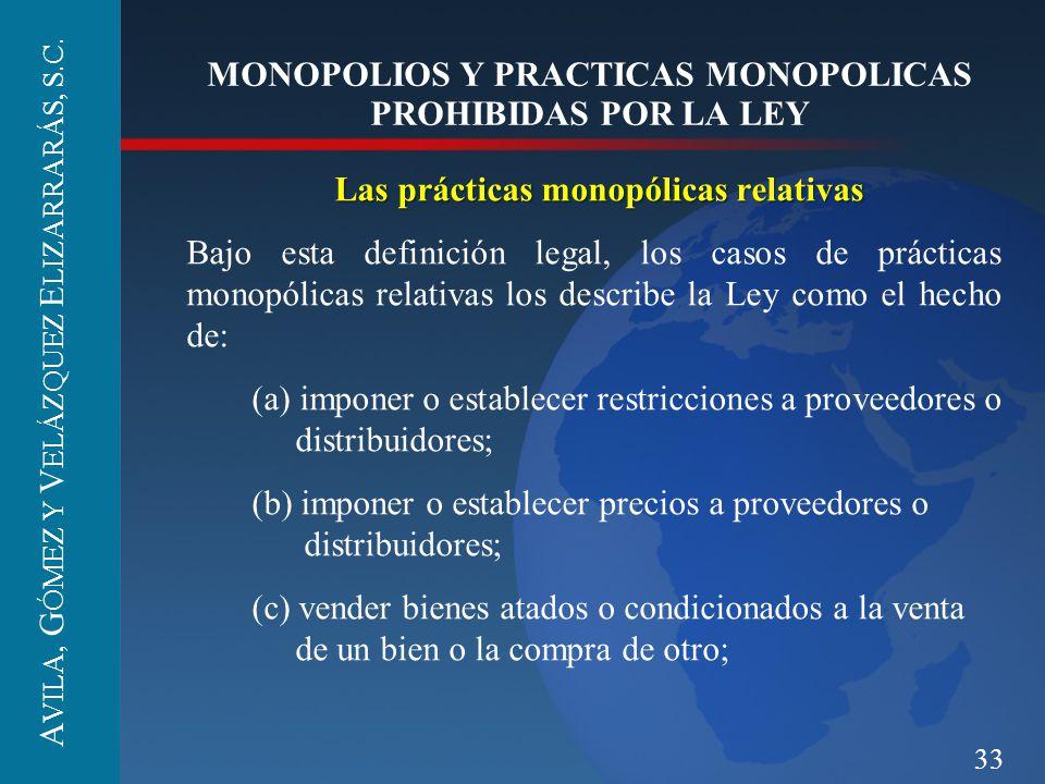 33 MONOPOLIOS Y PRACTICAS MONOPOLICAS PROHIBIDAS POR LA LEY Las prácticas monopólicas relativas Bajo esta definición legal, los casos de prácticas mon