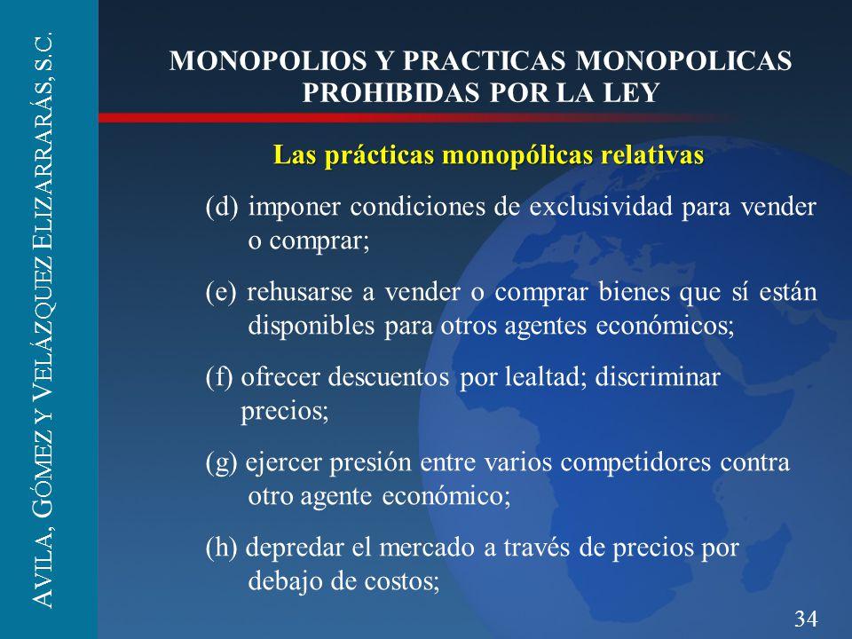 34 MONOPOLIOS Y PRACTICAS MONOPOLICAS PROHIBIDAS POR LA LEY Las prácticas monopólicas relativas (d) imponer condiciones de exclusividad para vender o