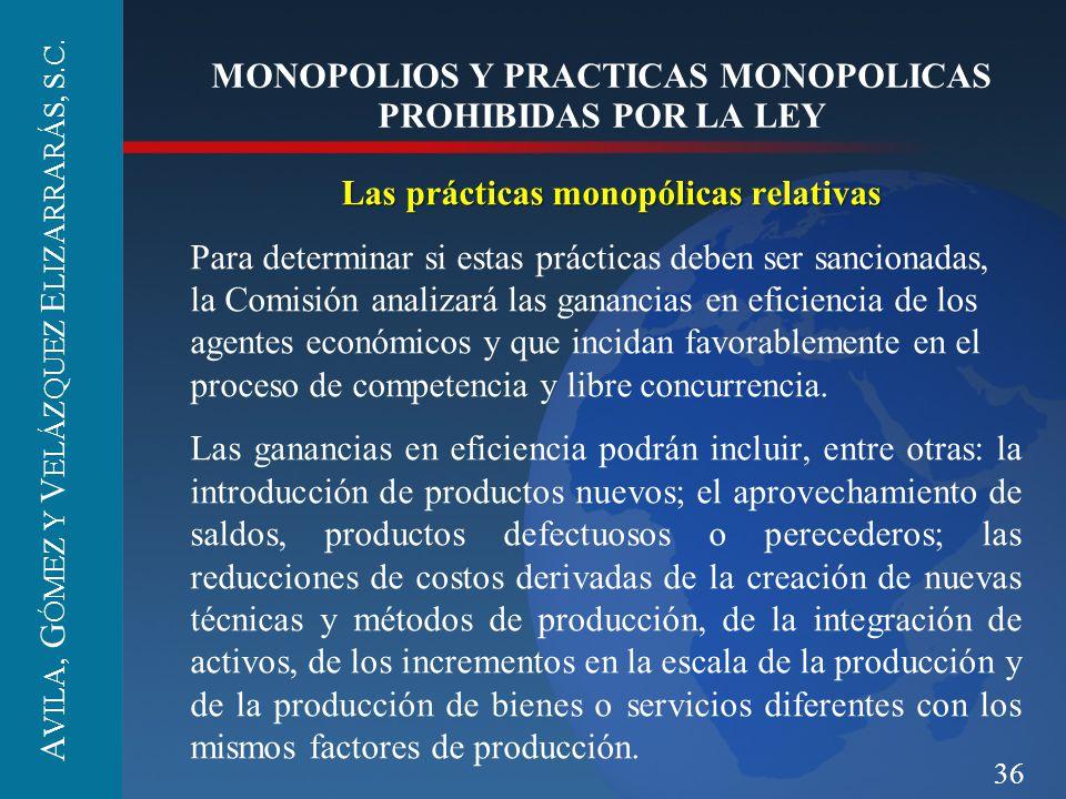 36 MONOPOLIOS Y PRACTICAS MONOPOLICAS PROHIBIDAS POR LA LEY Las prácticas monopólicas relativas Para determinar si estas prácticas deben ser sancionad