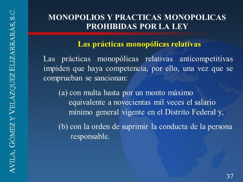 37 MONOPOLIOS Y PRACTICAS MONOPOLICAS PROHIBIDAS POR LA LEY Las prácticas monopólicas relativas Las prácticas monopólicas relativas anticompetitivas i