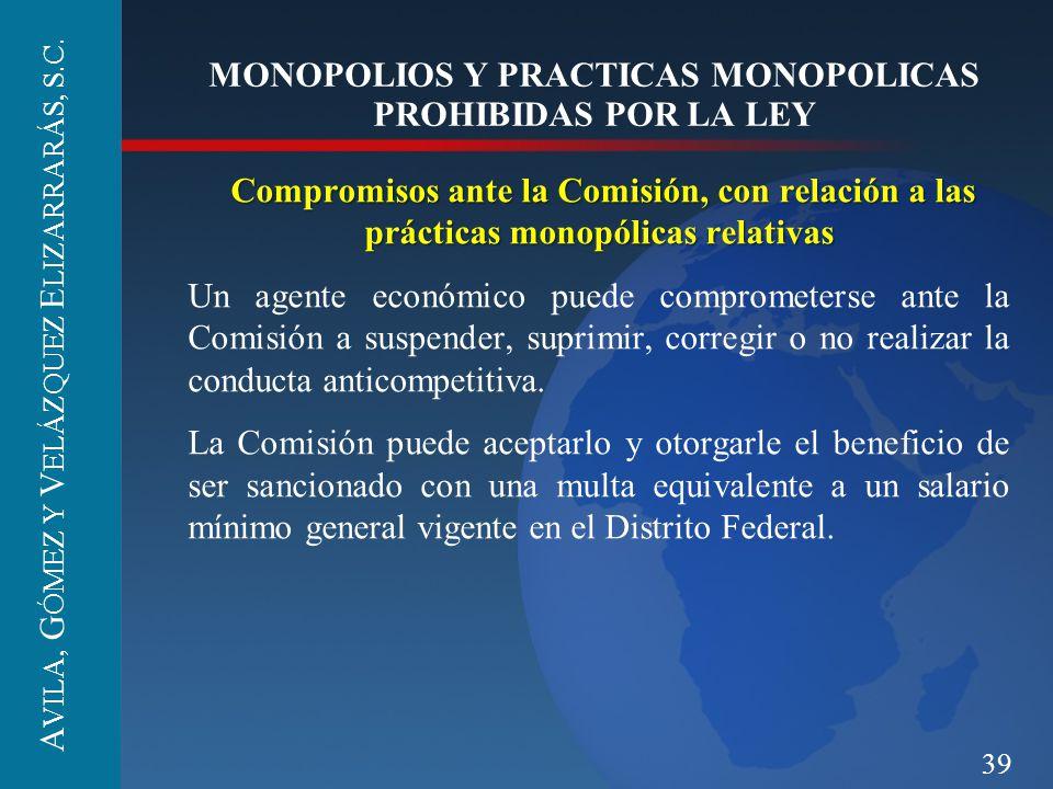 39 MONOPOLIOS Y PRACTICAS MONOPOLICAS PROHIBIDAS POR LA LEY Compromisos ante la Comisión, con relación a las prácticas monopólicas relativas Un agente