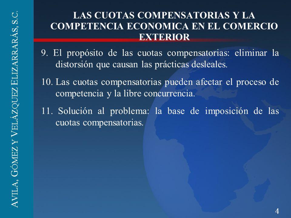 4 LAS CUOTAS COMPENSATORIAS Y LA COMPETENCIA ECONOMICA EN EL COMERCIO EXTERIOR 9. El propósito de las cuotas compensatorias: eliminar la distorsión qu