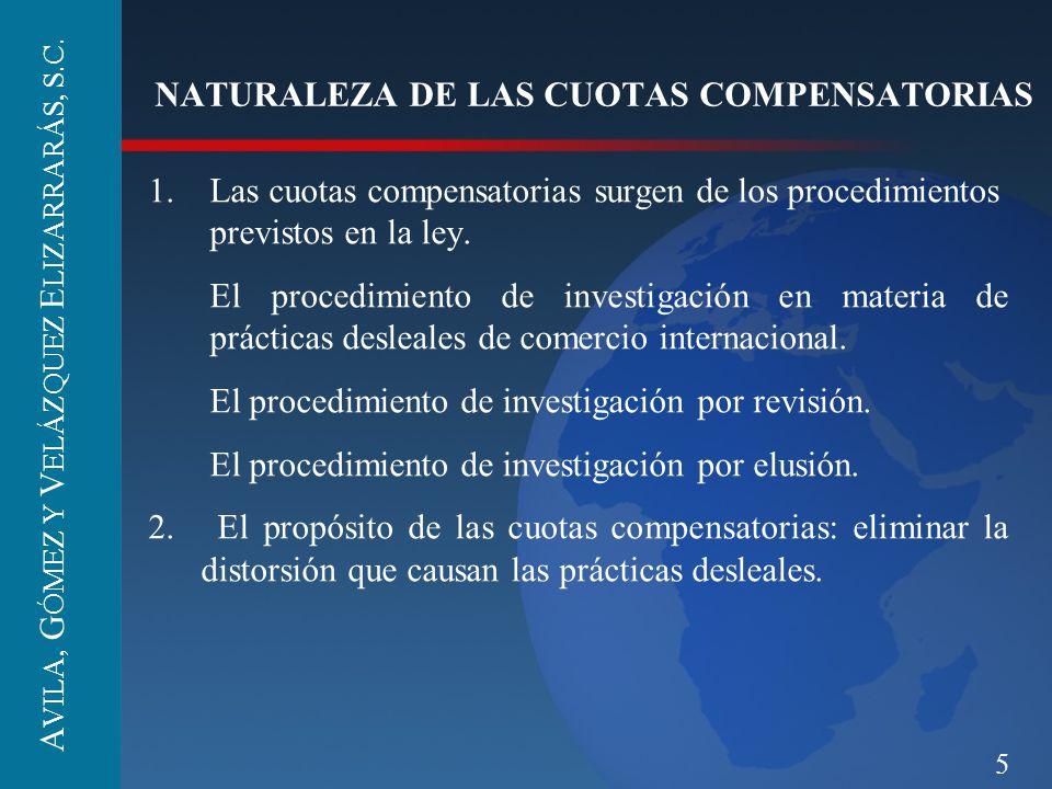 5 NATURALEZA DE LAS CUOTAS COMPENSATORIAS 1.Las cuotas compensatorias surgen de los procedimientos previstos en la ley. El procedimiento de investigac