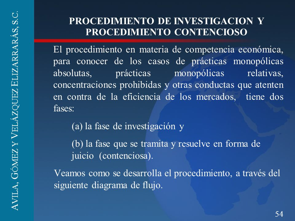54 PROCEDIMIENTO DE INVESTIGACION Y PROCEDIMIENTO CONTENCIOSO El procedimiento en materia de competencia económica, para conocer de los casos de práct