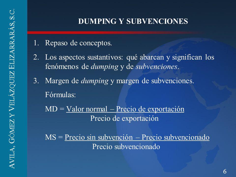 6 DUMPING Y SUBVENCIONES 1.Repaso de conceptos. 2.Los aspectos sustantivos: qué abarcan y significan los fenómenos de dumping y de subvenciones. 3.Mar