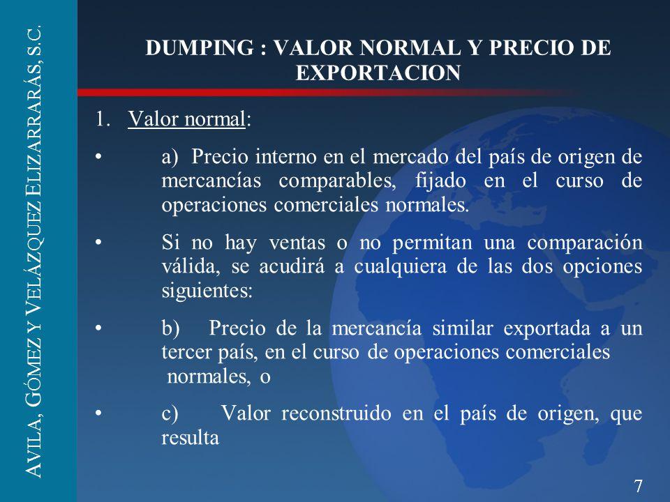7 DUMPING : VALOR NORMAL Y PRECIO DE EXPORTACION 1.Valor normal: a) Precio interno en el mercado del país de origen de mercancías comparables, fijado