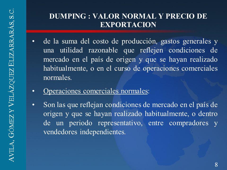 8 DUMPING : VALOR NORMAL Y PRECIO DE EXPORTACION de la suma del costo de producción, gastos generales y una utilidad razonable que reflejen condicione