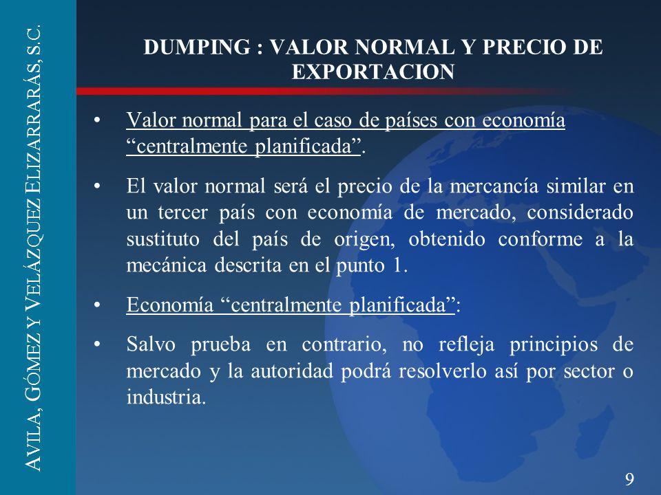 9 DUMPING : VALOR NORMAL Y PRECIO DE EXPORTACION Valor normal para el caso de países con economía centralmente planificada. El valor normal será el pr
