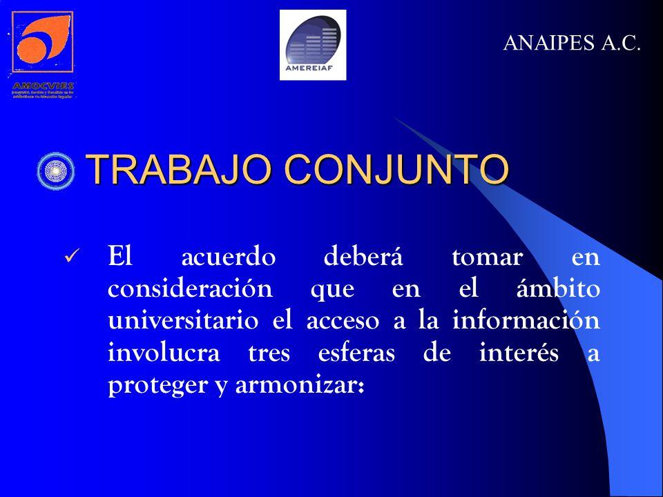 TRABAJO CONJUNTO TRABAJO CONJUNTO El acuerdo deberá tomar en consideración que en el ámbito universitario el acceso a la información involucra tres esferas de interés a proteger y armonizar: ANAIPES A.C.