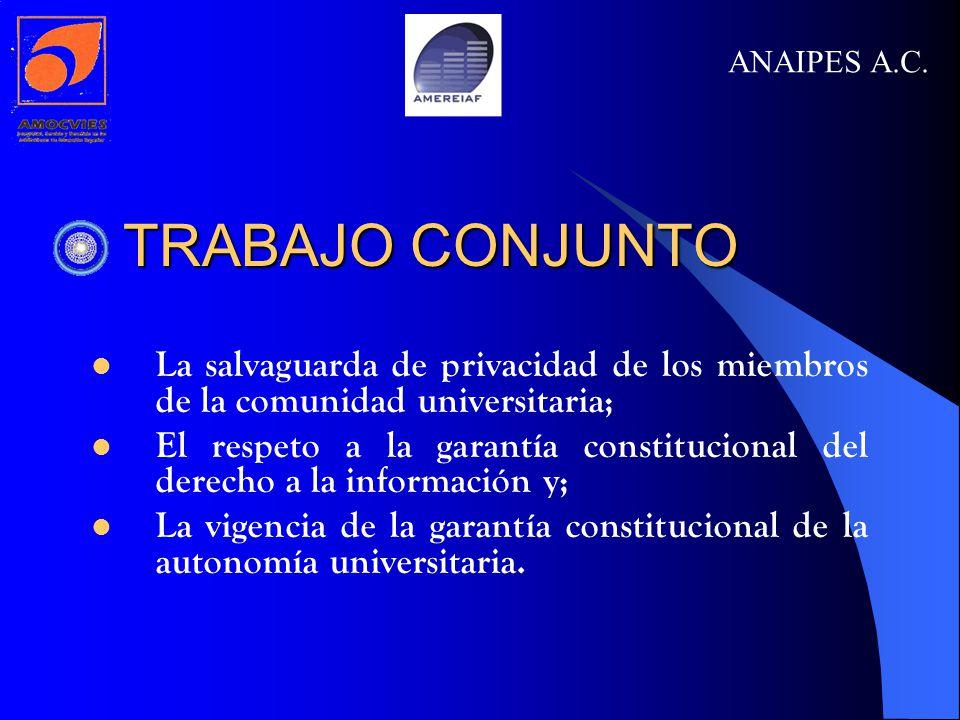 TRABAJO CONJUNTO TRABAJO CONJUNTO La salvaguarda de privacidad de los miembros de la comunidad universitaria; El respeto a la garantía constitucional del derecho a la información y; La vigencia de la garantía constitucional de la autonomía universitaria.