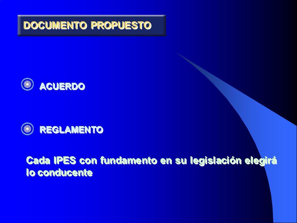 DOCUMENTO PROPUESTO ACUERDO REGLAMENTO ACUERDO REGLAMENTO Cada IPES con fundamento en su legislación elegirá lo conducente