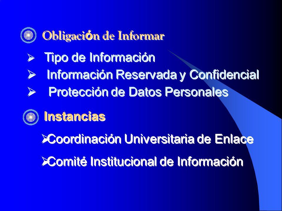 Obligaci ó n de Informar Tipo de Información Información Reservada y Confidencial Protección de Datos Personales Tipo de Información Información Reservada y Confidencial Protección de Datos Personales Instancias Coordinación Universitaria de Enlace Comité Institucional de Información Instancias Coordinación Universitaria de Enlace Comité Institucional de Información