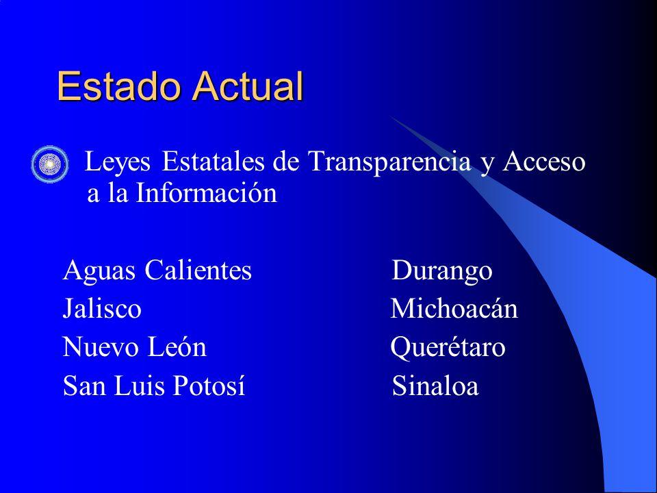 Estado Actual Leyes Estatales de Transparencia y Acceso a la Información Aguas Calientes Durango Jalisco Michoacán Nuevo León Querétaro San Luis Potosí Sinaloa