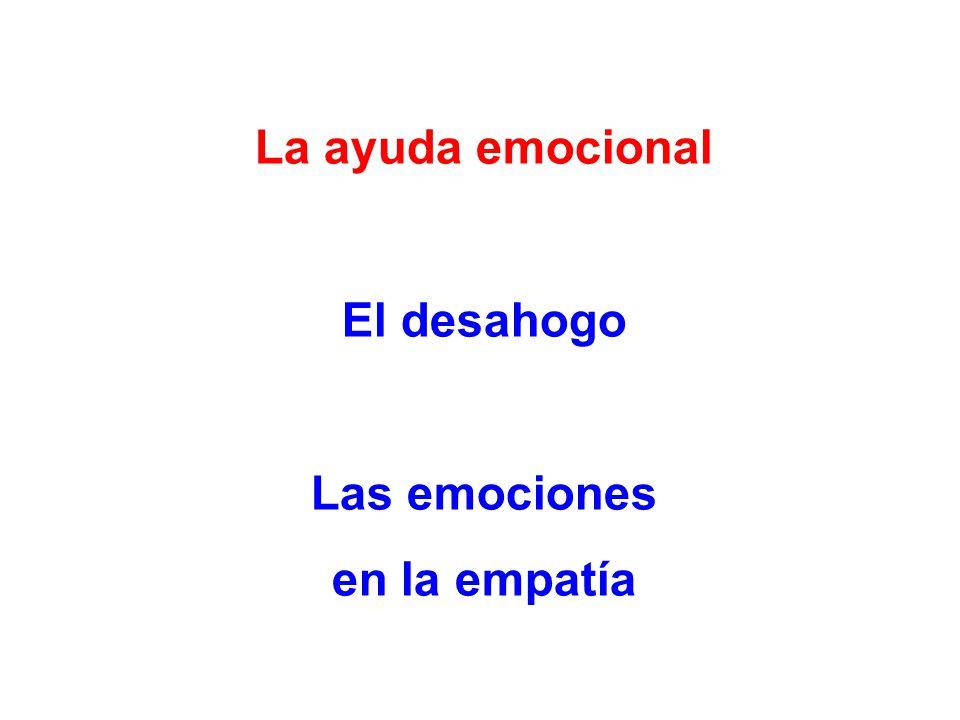 La ayuda emocional El desahogo Las emociones en la empatía