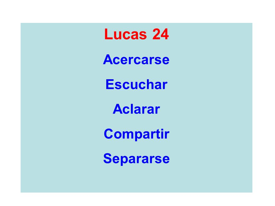 Lucas 24 Acercarse Escuchar Aclarar Compartir Separarse