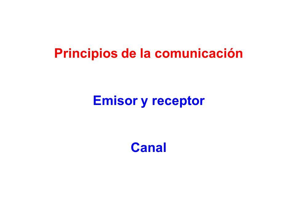 Principios de la comunicación Emisor y receptor Canal