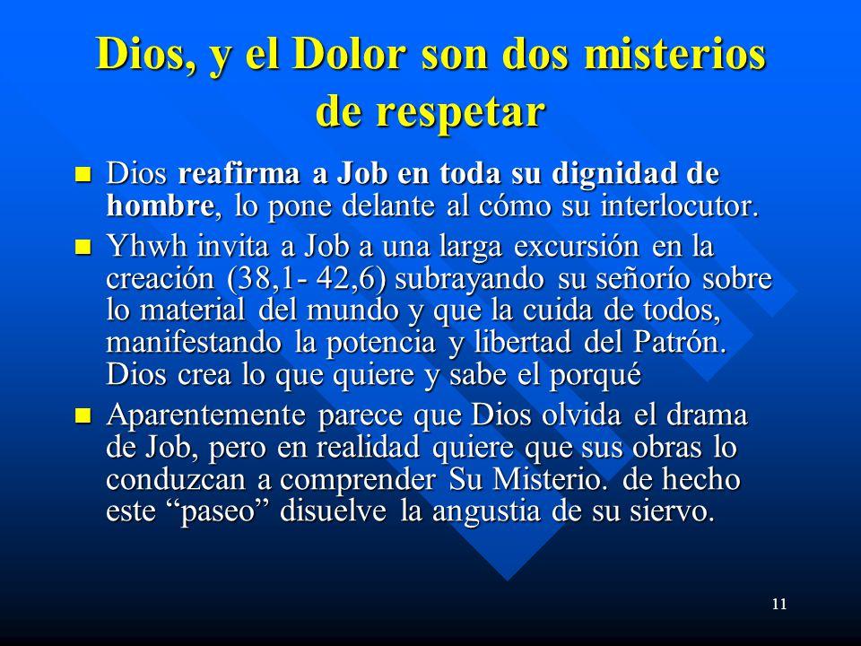 11 Dios, y el Dolor son dos misterios de respetar Dios reafirma a Job en toda su dignidad de hombre, lo pone delante al cómo su interlocutor. Dios rea