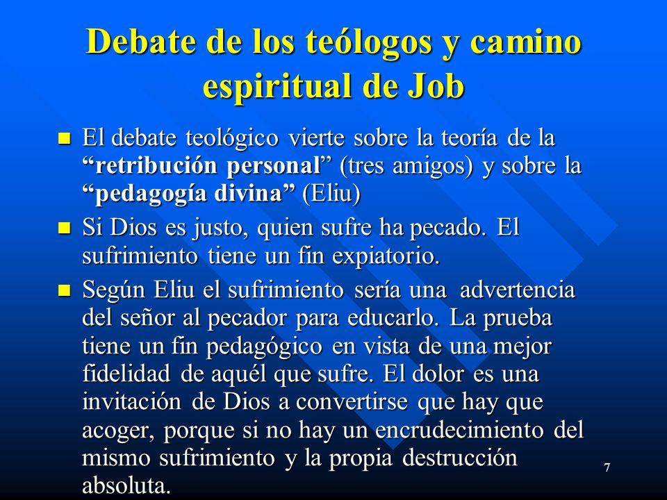 7 Debate de los teólogos y camino espiritual de Job El debate teológico vierte sobre la teoría de la retribución personal (tres amigos) y sobre la ped