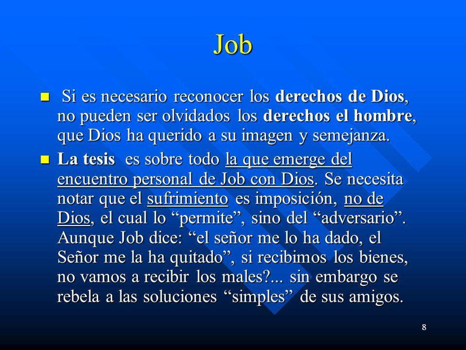 8 Job Si es necesario reconocer los derechos de Dios, no pueden ser olvidados los derechos el hombre, que Dios ha querido a su imagen y semejanza. Si