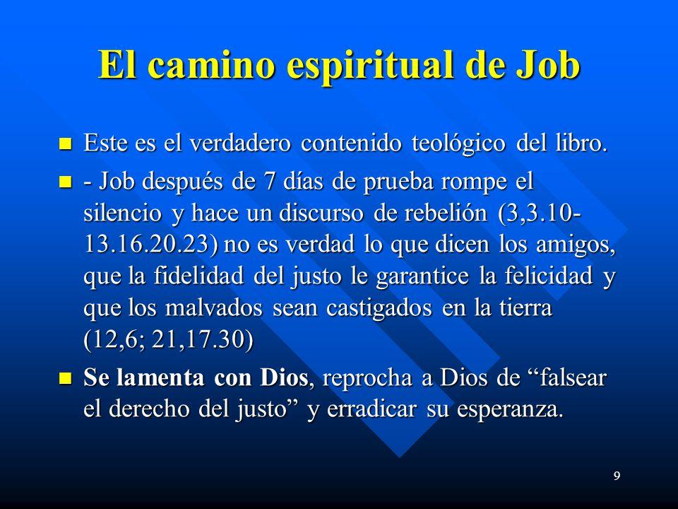 9 El camino espiritual de Job Este es el verdadero contenido teológico del libro. Este es el verdadero contenido teológico del libro. - Job después de