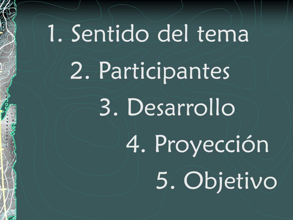 1. Sentido del tema 2. Participantes 3. Desarrollo 4. Proyección 5. Objetivo