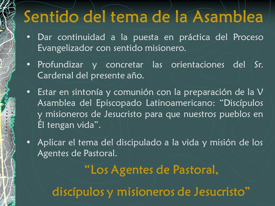 Sentido del tema de la Asamblea Dar continuidad a la puesta en práctica del Proceso Evangelizador con sentido misionero. Profundizar y concretar las o