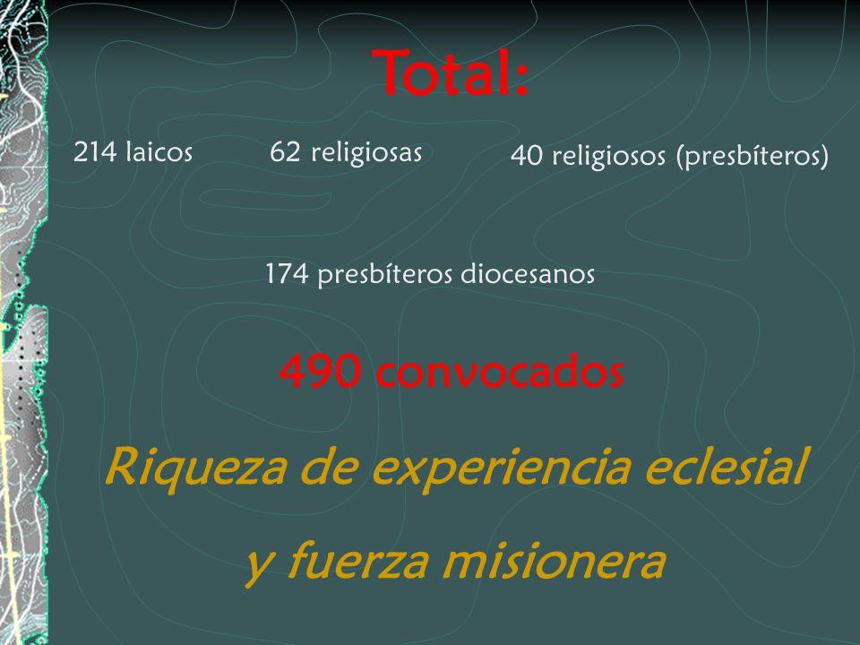Total: 214 laicos62 religiosas 40 religiosos (presbíteros) 174 presbíteros diocesanos 490 convocados Riqueza de experiencia eclesial y fuerza misioner