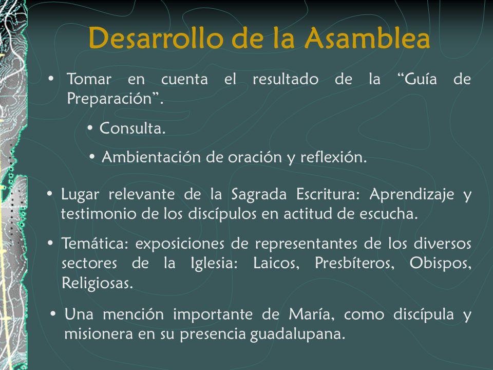 Desarrollo de la Asamblea Tomar en cuenta el resultado de la Guía de Preparación. Consulta. Lugar relevante de la Sagrada Escritura: Aprendizaje y tes