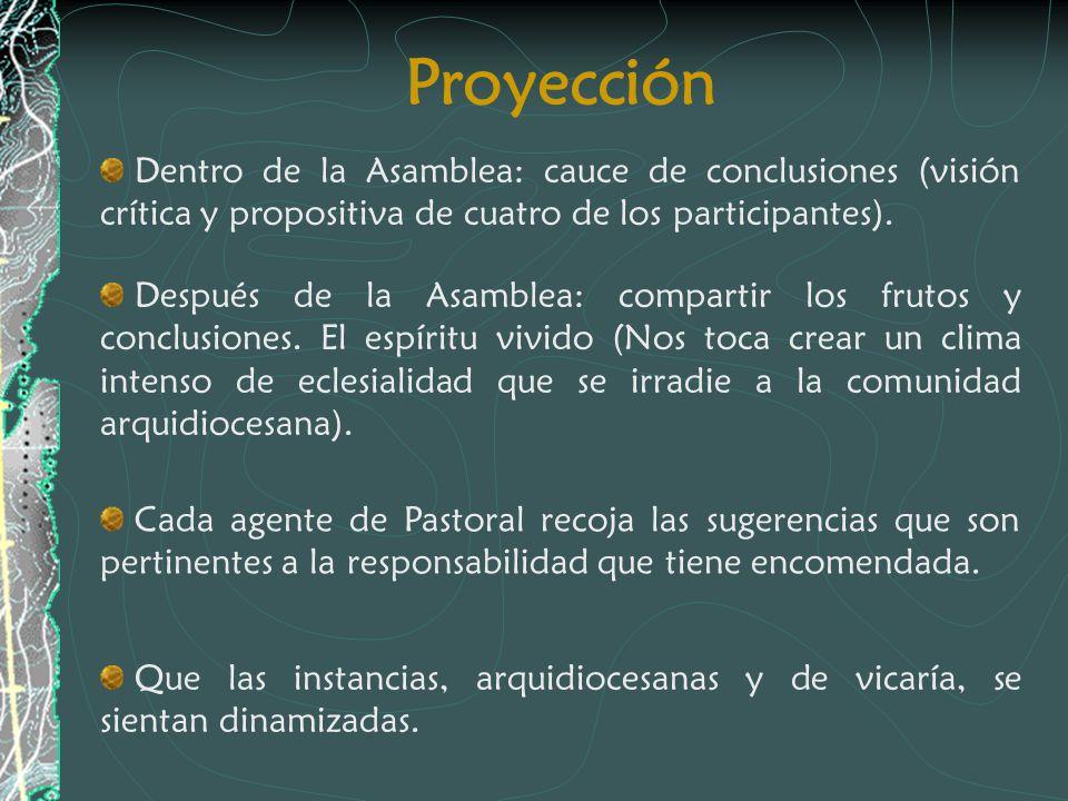Proyección Dentro de la Asamblea: cauce de conclusiones (visión crítica y propositiva de cuatro de los participantes). Después de la Asamblea: compart