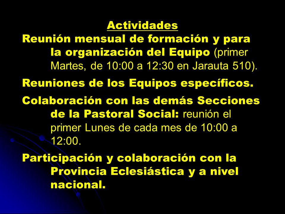 Actividades Reunión mensual de formación y para la organización del Equipo (primer Martes, de 10:00 a 12:30 en Jarauta 510).
