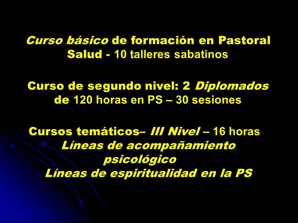Curso básico de formación en Pastoral Salud - 10 talleres sabatinos Curso de segundo nivel: 2 Diplomados de 120 horas en PS – 30 sesiones Cursos temáticos– III Nivel – 16 horas Líneas de acompañamiento psicológico Líneas de espiritualidad en la PS