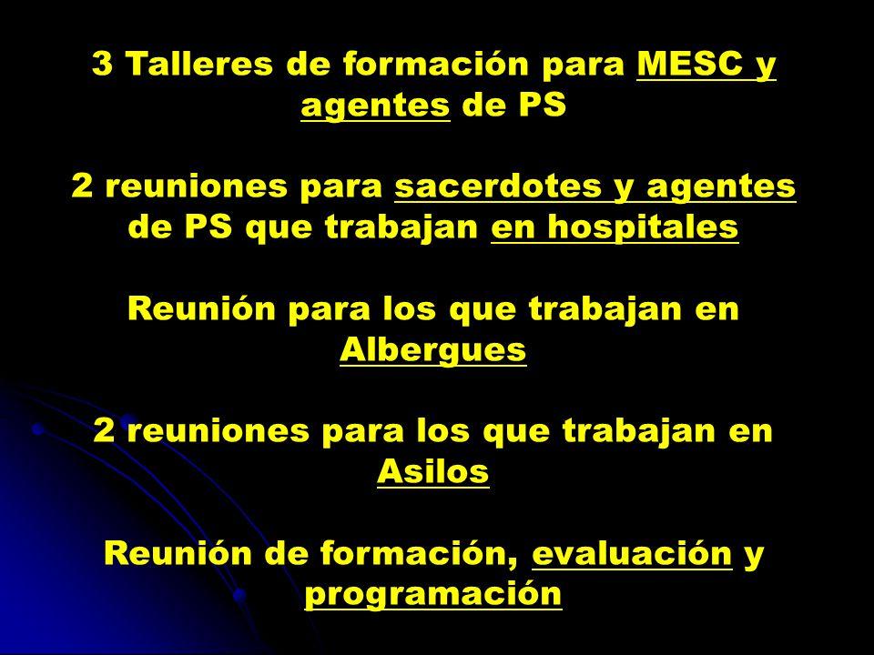3 Talleres de formación para MESC y agentes de PS 2 reuniones para sacerdotes y agentes de PS que trabajan en hospitales Reunión para los que trabajan en Albergues 2 reuniones para los que trabajan en Asilos Reunión de formación, evaluación y programación