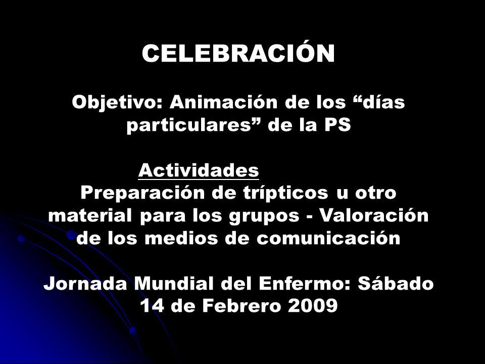 CELEBRACIÓN Objetivo: Animación de los días particulares de la PS Actividades Preparación de trípticos u otro material para los grupos - Valoración de los medios de comunicación Jornada Mundial del Enfermo: Sábado 14 de Febrero 2009
