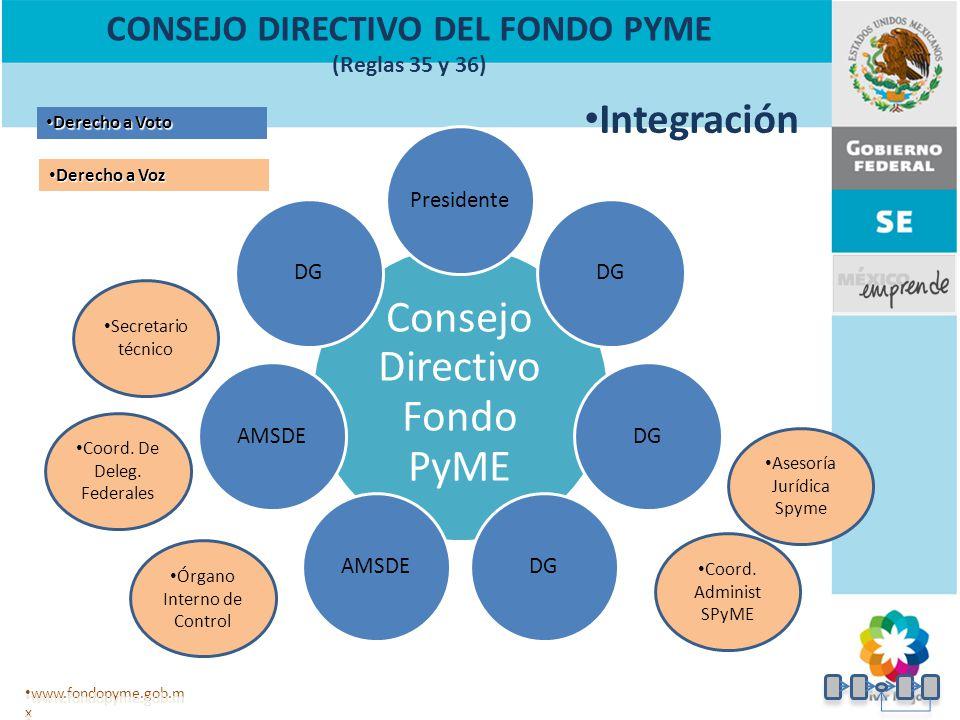 Consejo Directivo Fondo PyME PresidenteDG AMSDE DG Secretario técnico www.fondopyme.gob.m x Órgano Interno de Control Derecho a Voto Derecho a Voto Derecho a Voz Derecho a Voz Coord.