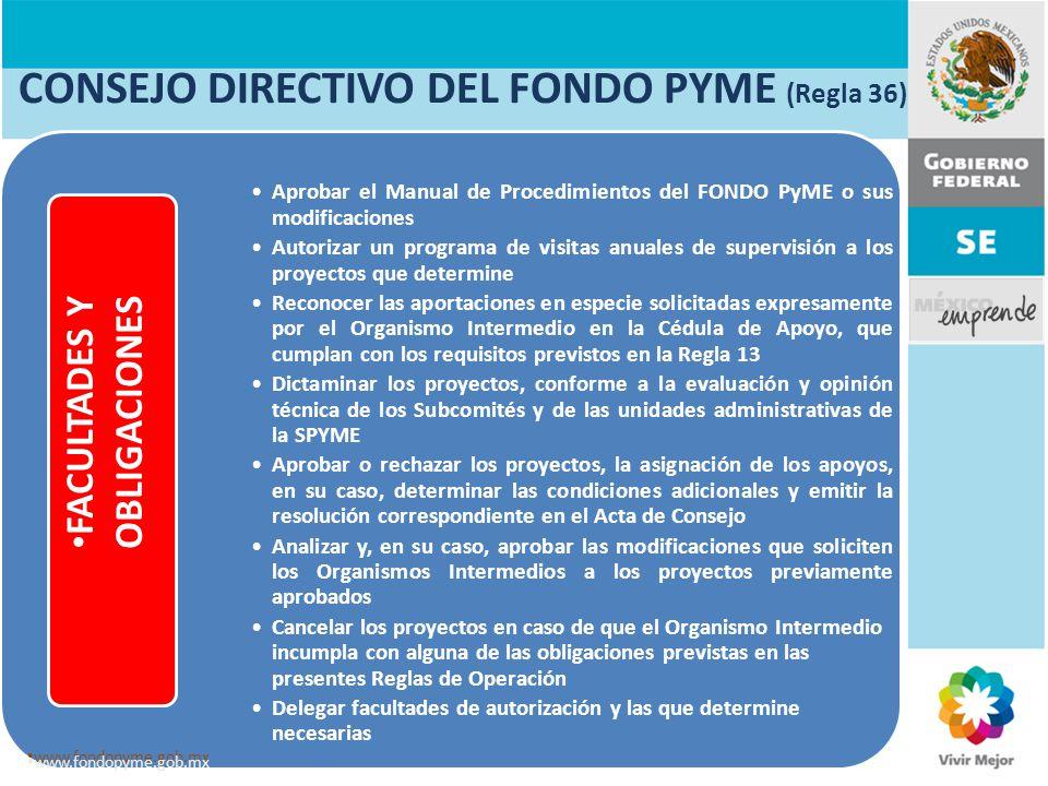 CONSEJO DIRECTIVO DEL FONDO PYME (Regla 36) Aprobar el Manual de Procedimientos del FONDO PyME o sus modificaciones Autorizar un programa de visitas a