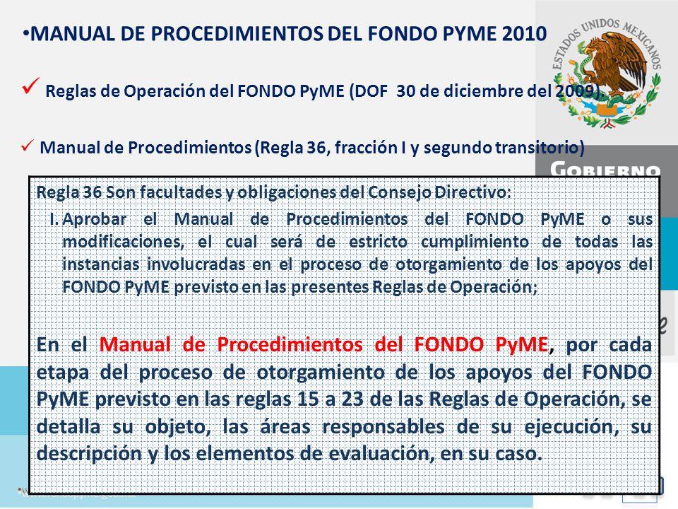 Todo un Movimiento para la Competitividad de las Empresas en México www.fondopyme.gob.mx MANUAL DE PROCEDIMIENTOS DEL FONDO PYME 2010 Reglas de Operac